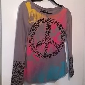 Self Esteem Gray long sleeves tee with Peace sign